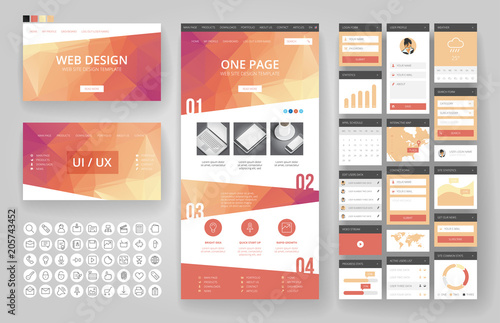 Website design template and interface elements Fototapeta
