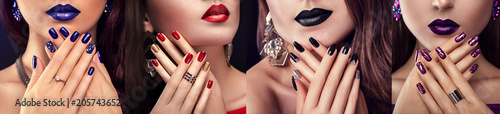 Beauty fashion model with different make-up and nail design wearing jewelry Fototapeta