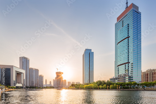 Foto op Aluminium Eiffeltoren Panoramic skyline and buildings with sunset