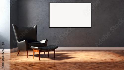 Fototapeta Modern bright interiors apartment with mockup poster frame 3D rendering illustration obraz na płótnie