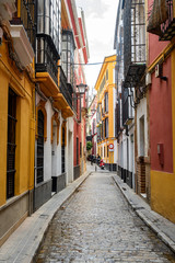 Fototapeta na wymiar traditional houses of Seville old tow, spain