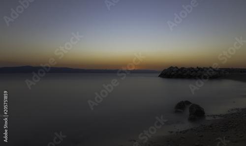 Spoed Foto op Canvas Zee zonsondergang Sunset over Adriatic Sea in Podgora, Makarska Riviera, Dalmatia, Croatia