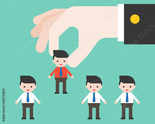 Big Leader Hand Picks Worker Flat Design Choosing People And Apply Job Concept