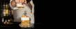 canvas print picture - Barkeeper Action American Cocktail Bar   Bartender Cigar on Dark Black Background