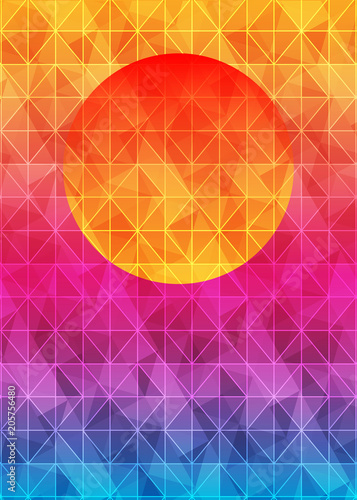 Foto op Plexiglas Abstract wave Low poly triangle geometrical background with sun over sunset. Multicolor polygonal vector illustration, which consist of triangles. Abstract Triangular geometric template design for your business