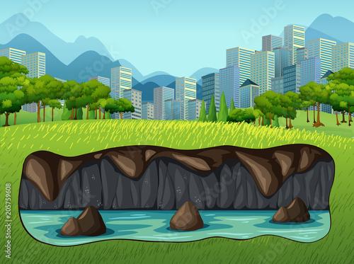 Papiers peints Jeunes enfants Underground Water Near Big City
