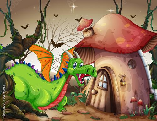 Papiers peints Jeunes enfants A Green Dragon in Dark Forest