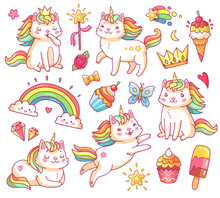 Magic Unicorn Cats In Crown, Sweet Cupcakes, Ice Cream, Rainbow And Clouds. Cartoon Fairy Smiling Cat, Kitty With Color Tail Vector Set