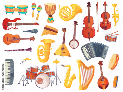 Fotografia Cartoon musical instruments, guitars, bongo drums, cello, saxophone, microphone, drum kit isolated