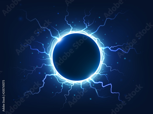 Spectacular thunder and lightning surround blue electric ball Canvas Print