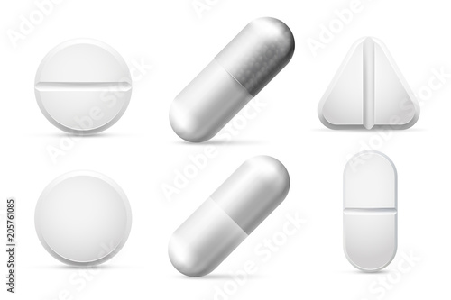 Carta da parati Round white cure pills, aspirin, antibiotics and painkiller drugs