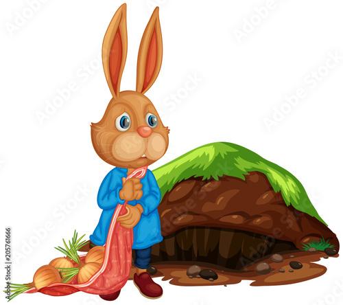 Papiers peints Jeunes enfants A Cartoon Cute Rabbit Farming