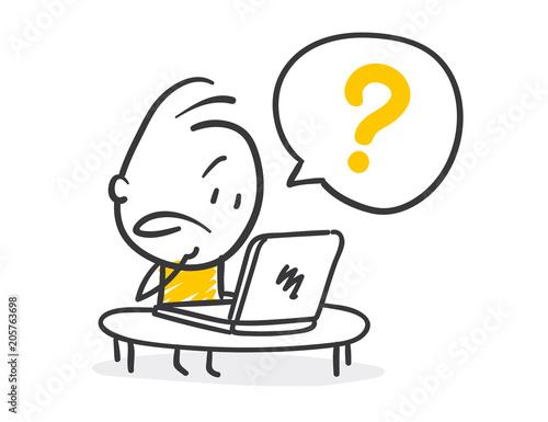 Cuadros en Lienzo  Strichfiguren / Strichmännchen: Computer, Frage. (Nr. 226)