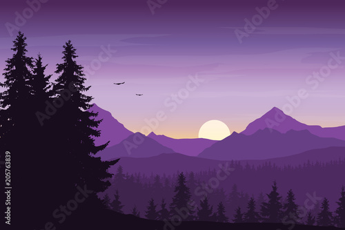 Mountain landscape with forest under a purple morning sky with rising sun, birds and clouds