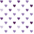 Illustrated seamless pattern with purple hearts on a white background