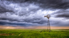 Windmill On A Farm In An Open ...