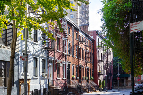 Photo Stands New York Historic buildings along Gay Street in Greenwich Village New York City