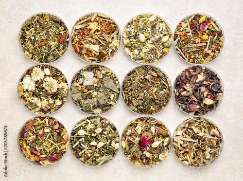Fotografie, Obraz  herbal blend tea collection