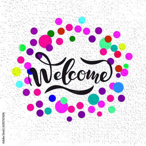 Fotografia  Vector illustration of Welcome  with the inscription for packing