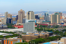 """Aerial View Of Durban's City Center From A Rooftop Situated On The """"Golden Mile"""" Beachfront, KwaZulu-Natal Province Of South Africa"""
