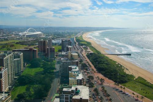 Cuadros en Lienzo Aerial view of Durban Golden Mile beach looking east, KwaZulu-Natal province o