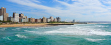 "Panoramic View Of Durban's ""Golden Mile"" Beachfront As Seen From From The Indian Ocean With Waves, KwaZulu-Natal Province Of South Africa"