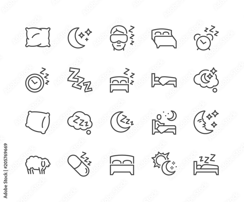 Fototapeta Simple Set of Sleep Related Vector Line Icons. Contains such Icons as Insomnia, Pillow, Sleeping Pills and more. Editable Stroke. 48x48 Pixel Perfect.