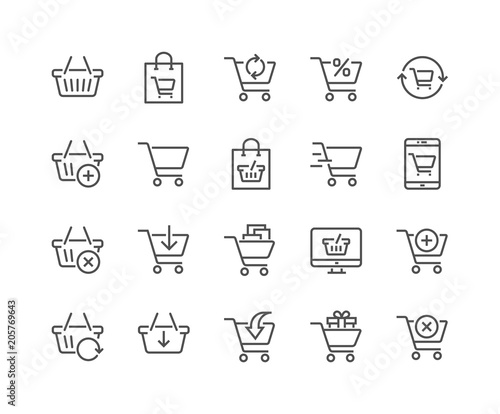 Fotografia Simple Set of Shopping Cart Related Vector Line Icons