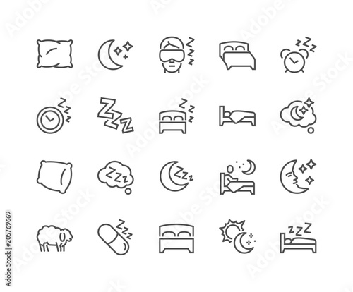 Fotografia, Obraz  Simple Set of Sleep Related Vector Line Icons