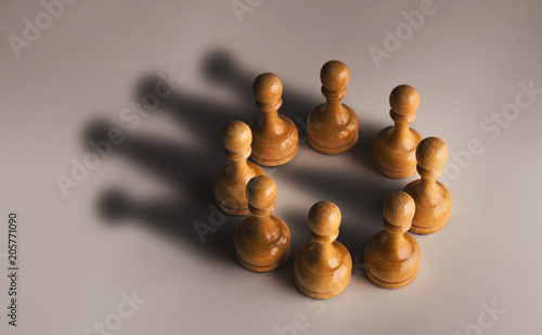 Fotografie, Obraz Chess pawn circle with shadow shaped as crown
