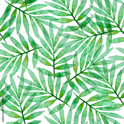 Cotton fabric Tropical watercolor seamless pattern