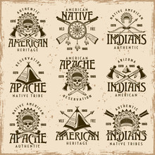 Native American Indians Set Of Vector Emblems