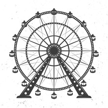 Ferris Wheel Vector Monochrome Illustration