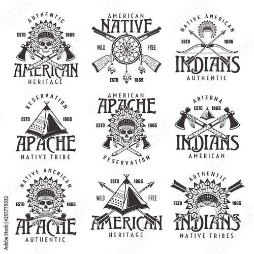 Native american indians emblems isolated on white Wallpaper Mural