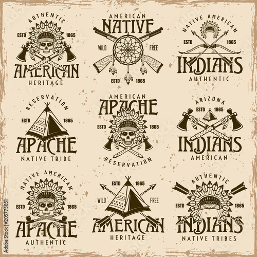 Cuadros en Lienzo Native american indians set of vector emblems