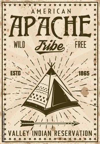 Apache indian tribe reservation vintage poster Canvas Print