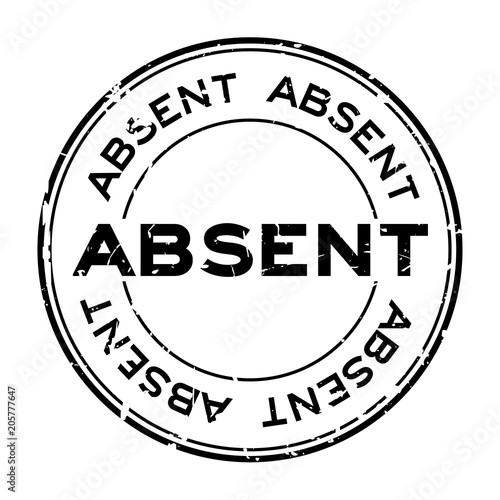 Grunge black absent word round rubber seal stamp on white background Canvas Print