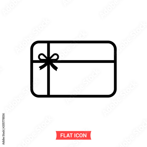 Gift Card Vector Icon Surprise Coupon Symbol Flat Sign