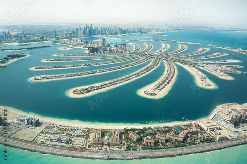 Tuinposter Dubai Aerial view of Palm Jumeirah man made island.