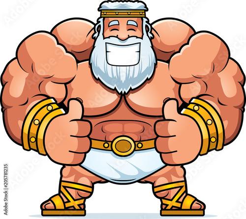 Cartoon Zeus Thumbs Up Canvas Print