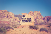 Rock Boulder Sign For Red Rock...