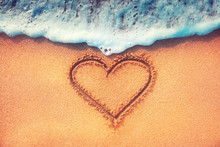 Heart On A Sand Of Beach With ...