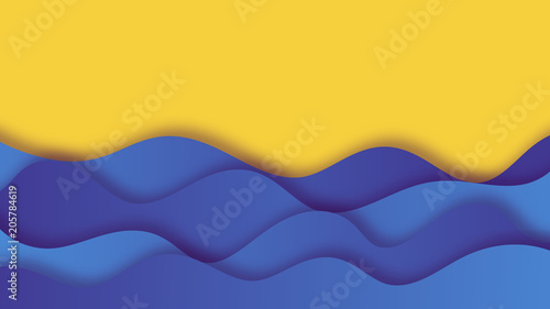 Tuinposter Abstract wave Paper cut background with sea waves