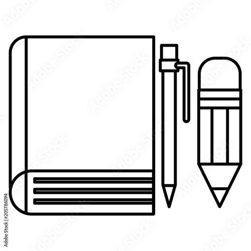 book school with pencil and pen vector illustration design