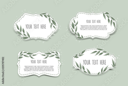 Fototapety, obrazy: Vector set. Vintage labels with leaves. Frame border with copy space.