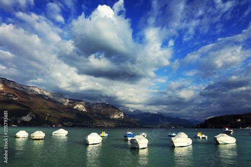 Spoed Foto op Canvas Zee zonsondergang Annecy Lake, Haute Savoie, France, Europe
