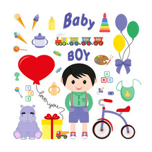 Baby Icons For Boys. Icon. Vector. Flat.