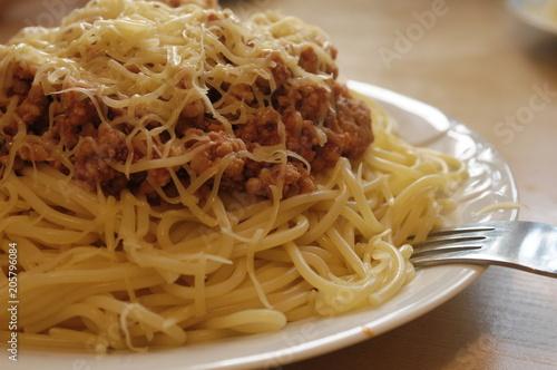 Fototapeta Spagetti na obiad, na talerzu obraz