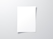 White Vertical Paper Sheet Mockup, Letter Or Invitation