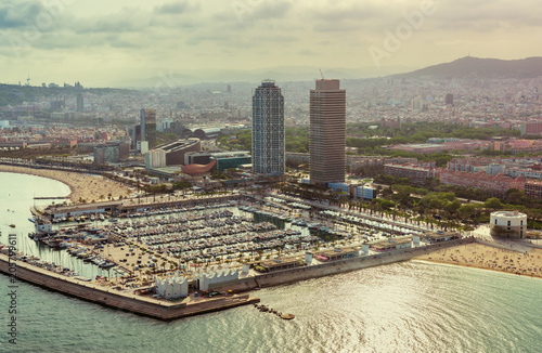 Photo  Barcelona aerial,  Port Olimpic with boats and city skyline, Spain